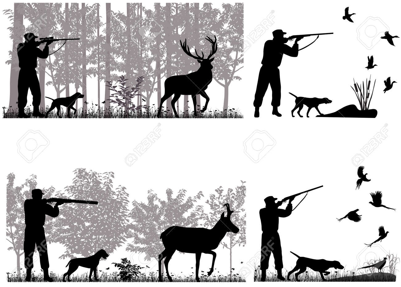 Man with dog is hunting for deer, pronghorn, ducks and pheasants - 126453131