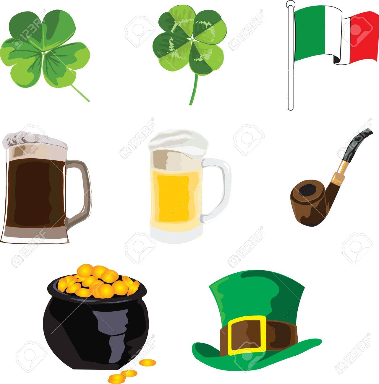 symbols of the holiday of St. Patrick on a white background Stock Vector - 12407339