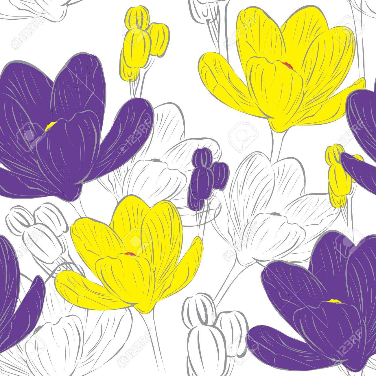 floral seamless background with purple and yellow crocuses Stock Vector - 12407331