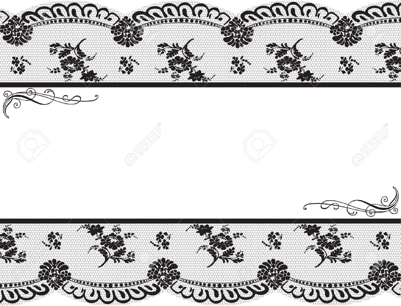 Framed With Black Lace On A White Background Royalty Free Cliparts ...