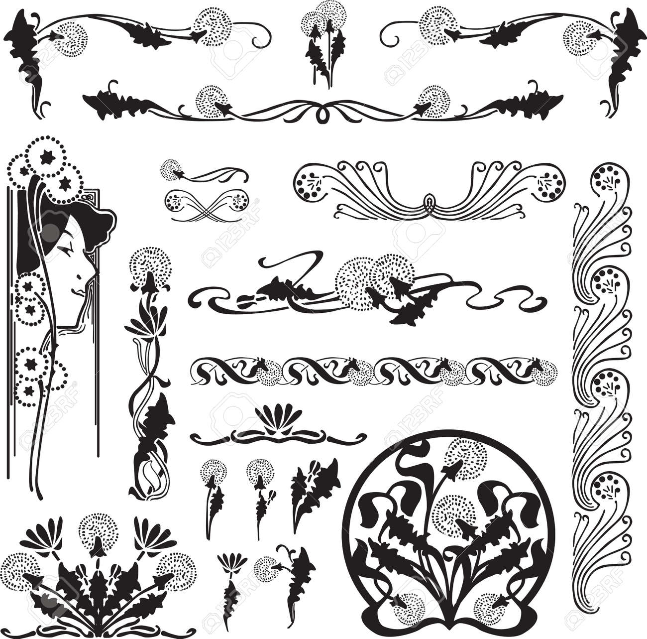 a set of patterns of art nouveau with dandelions for page design rh 123rf com art nouveau vector frame art nouveau victorian villa