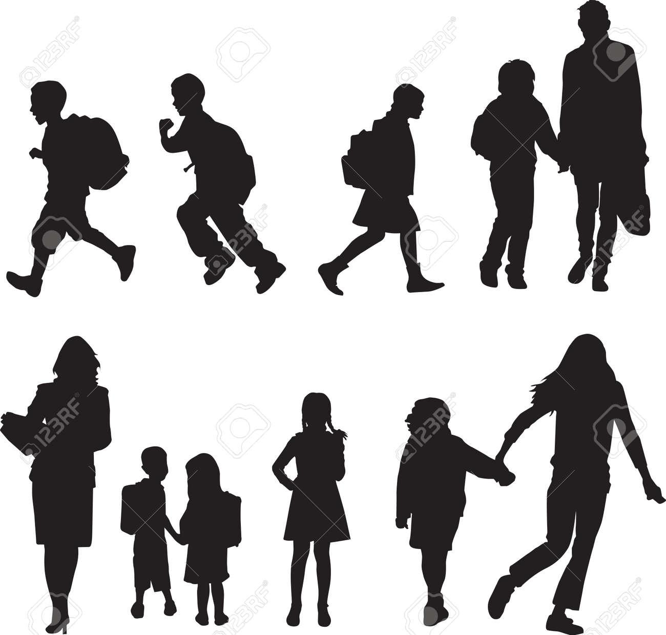 Siluetas De Niños, Caminando A La Escuela Ilustraciones Vectoriales ...