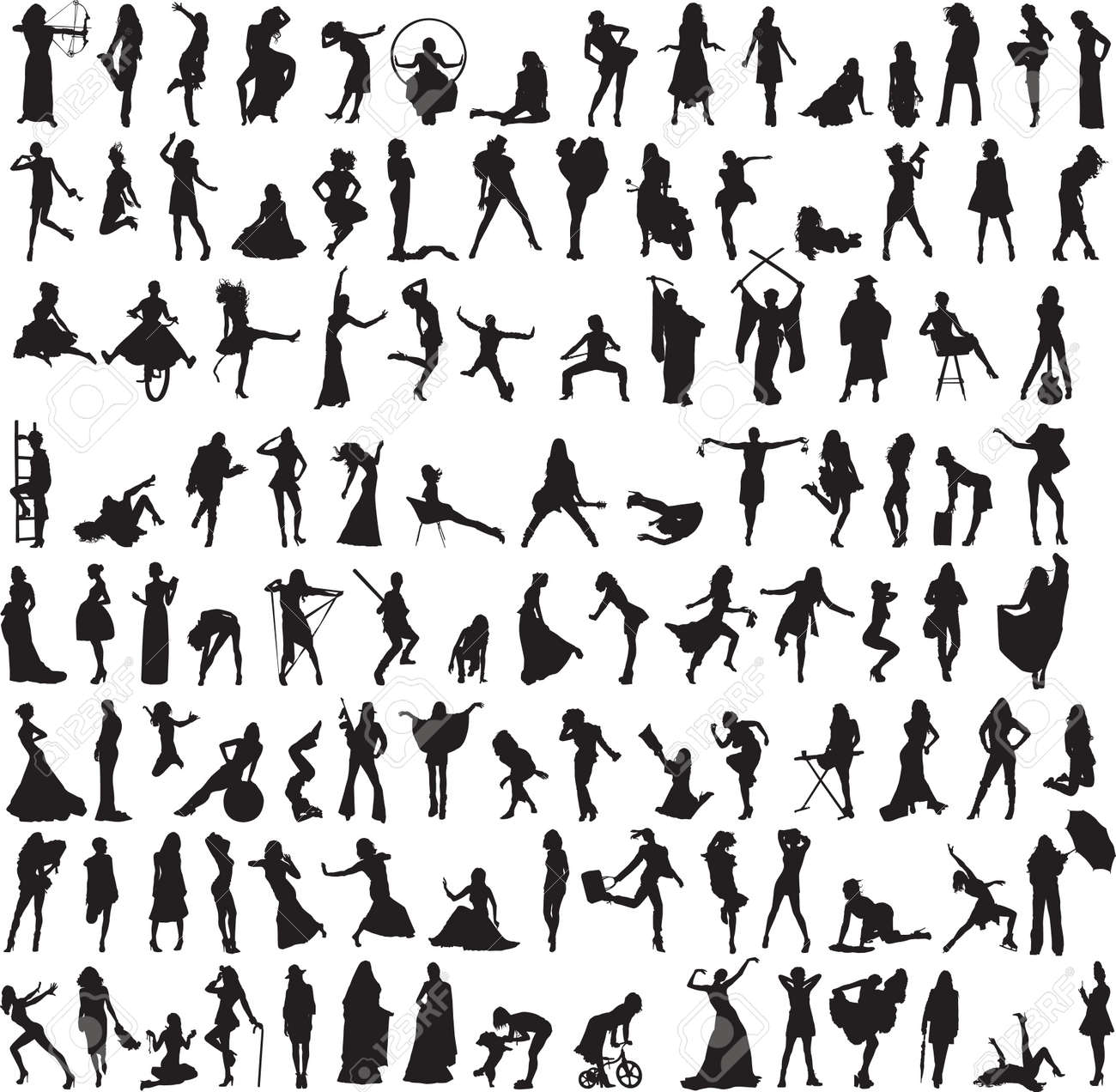 more than 100 different silhouettes of women Stock Vector - 15048001