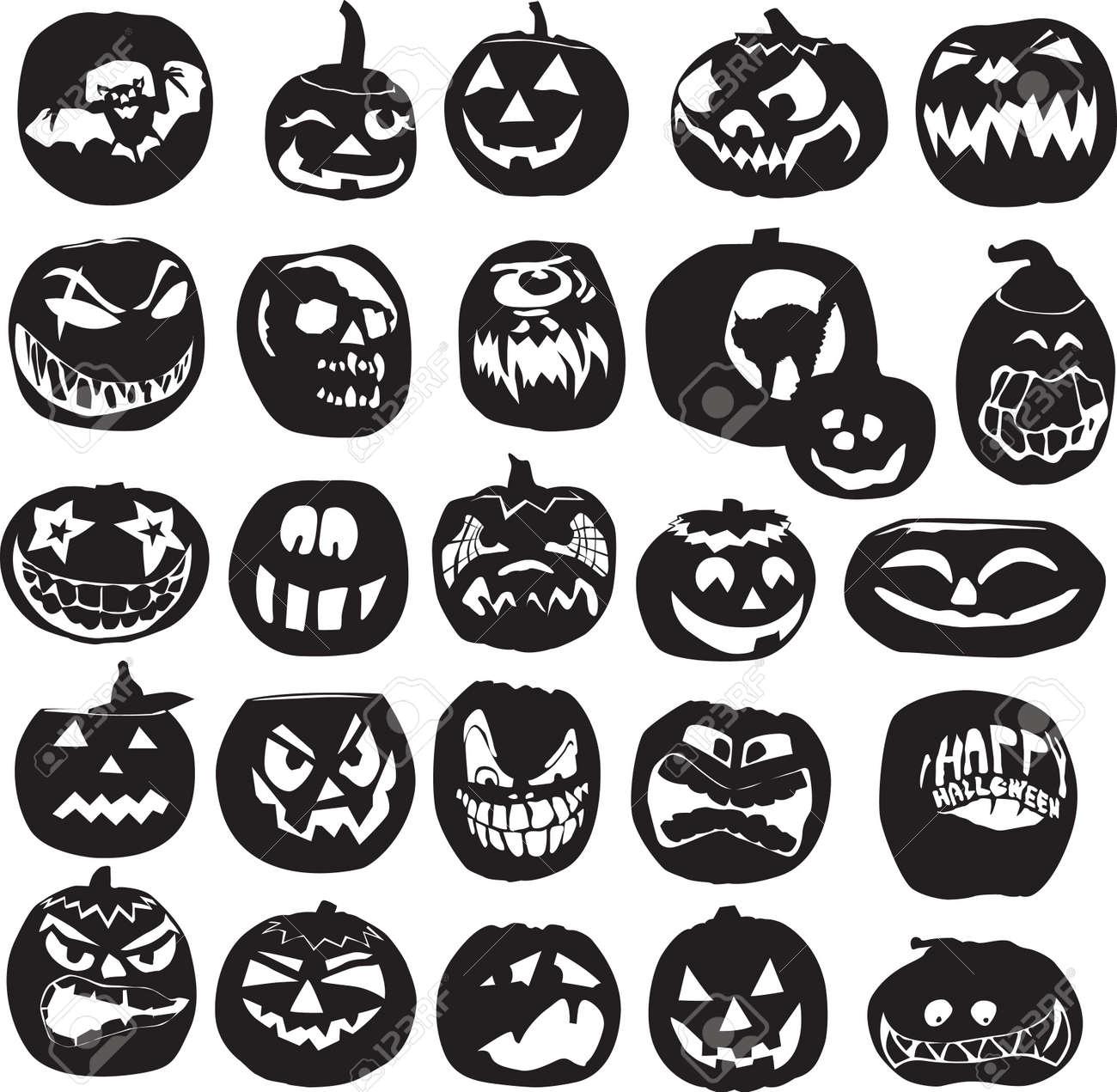 diverse set of silhouettes of Halloween pumpkins Stock Vector - 15152259