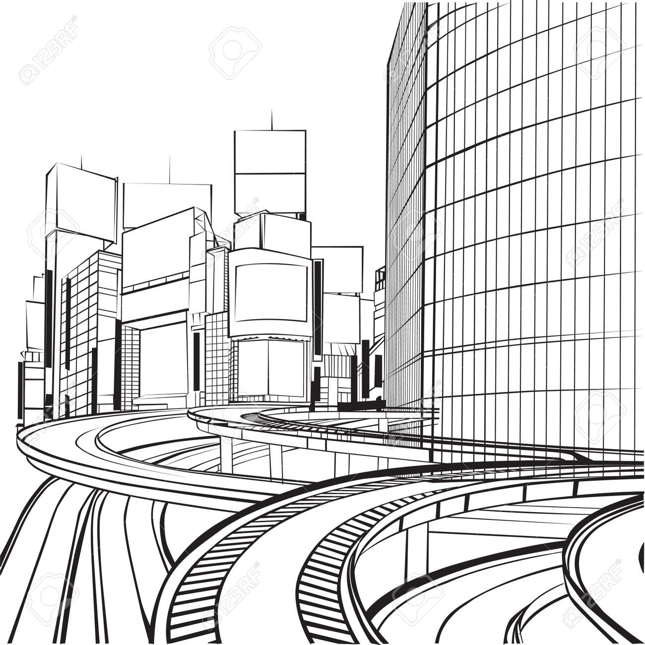 sketch of the silhouette of a big city Stock Vector - 15575139