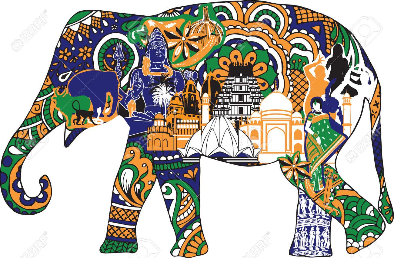 Elephant with indian symbols royalty free cliparts vectors and elephant with indian symbols stock vector 41721199 buycottarizona Images