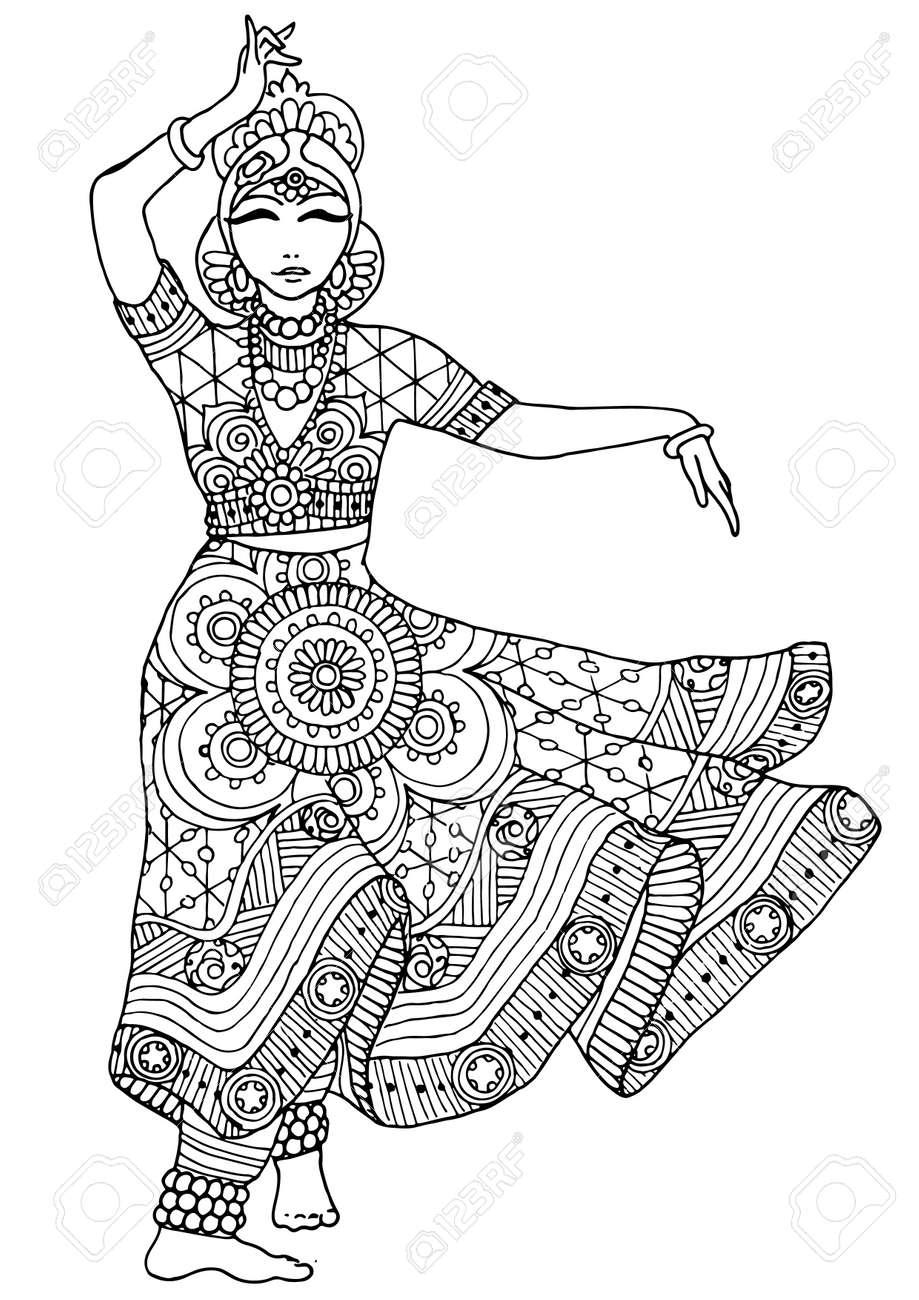 Coloriage Danseuse Indienne.Coloriage Avec Une Fille Indienne Danseuse Dans Une Robe Avec Une Variete De Modeles