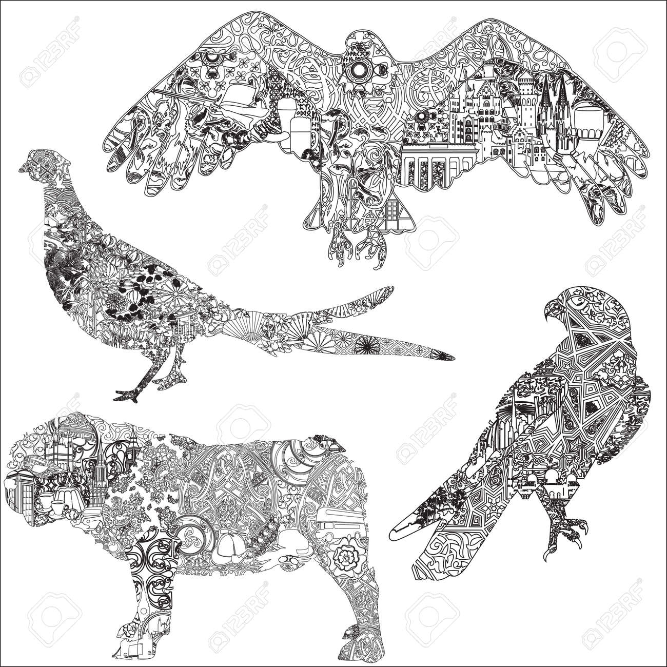 A set of animals with patterns symbols ornaments symbolizing a set of animals with patterns symbols ornaments symbolizing a particular country 4 biocorpaavc