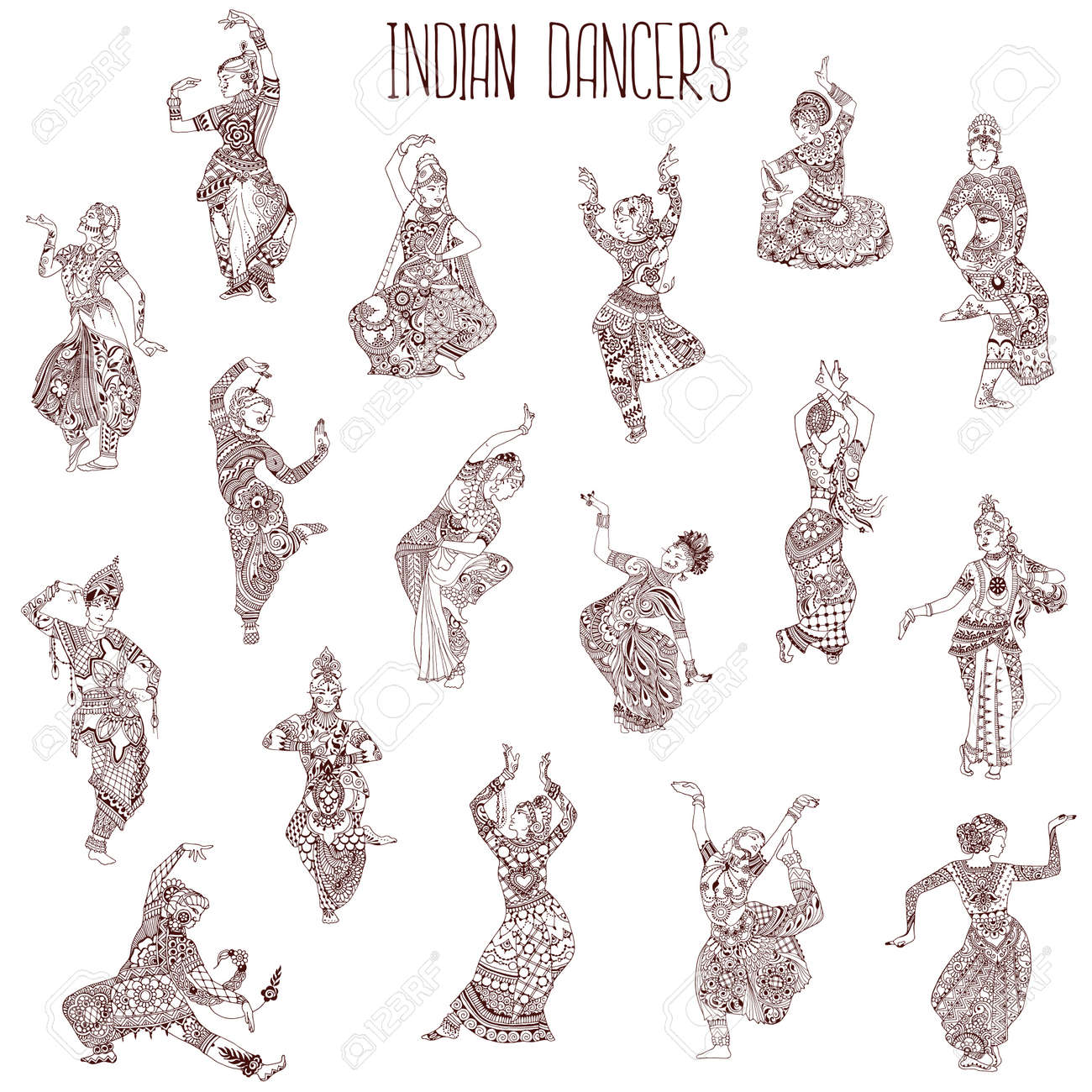 A Set Of Indian Dancers Girls In Different Oriental Dance Poses Royalty Free Cliparts Vectors And Stock Illustration Image 102005308