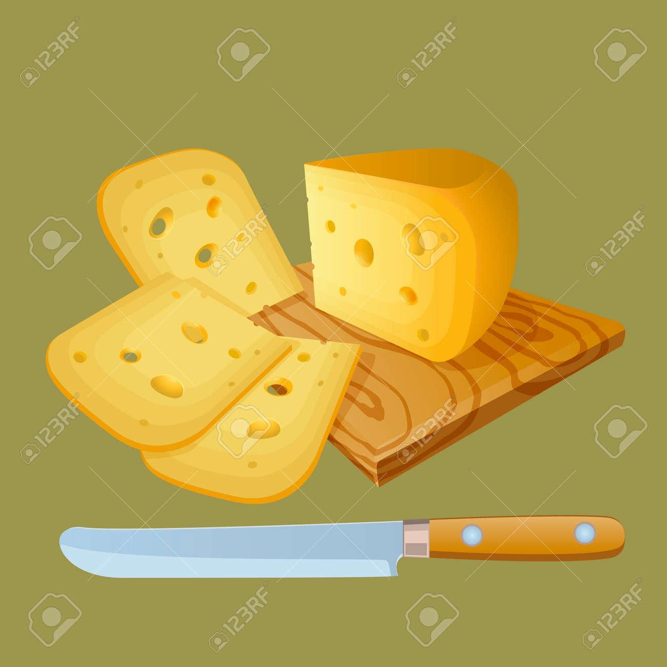 fromage coupé en morceaux. cuisine planche à découper. couteau pour