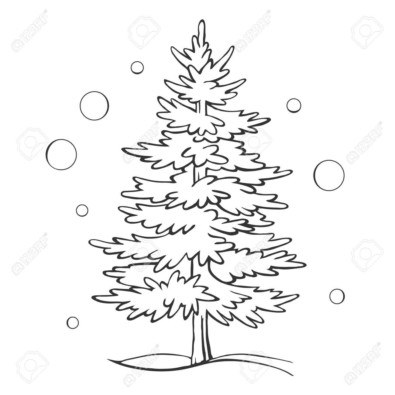 Drawing Christmas Tree Sketch.Christmas Tree Sketch Symbol Vector Xmas Winter Outline Drawing