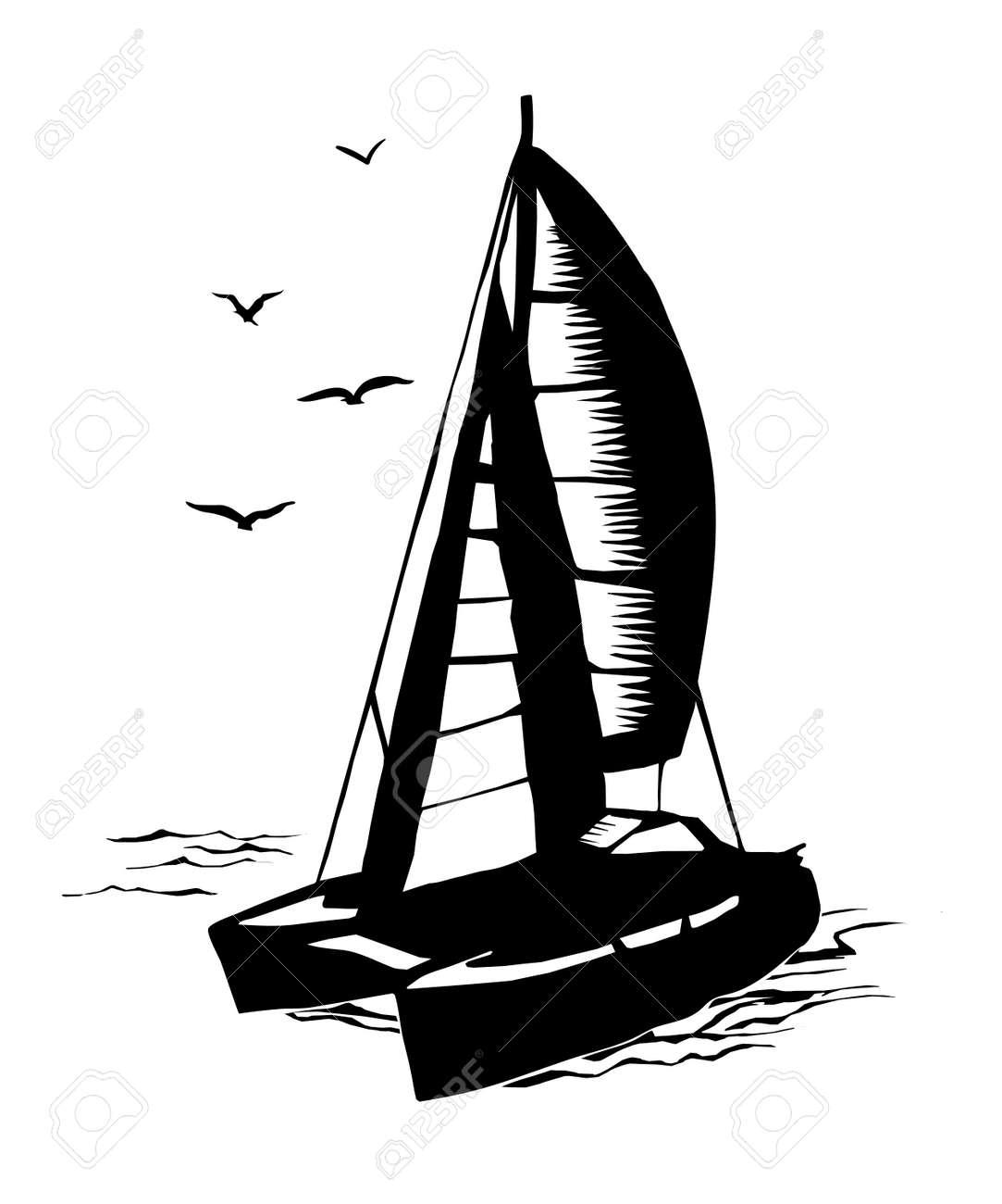 Silhouette Monochrome De Catamaran A Voile Clip Art Libres De Droits Vecteurs Et Illustration Image 79880400