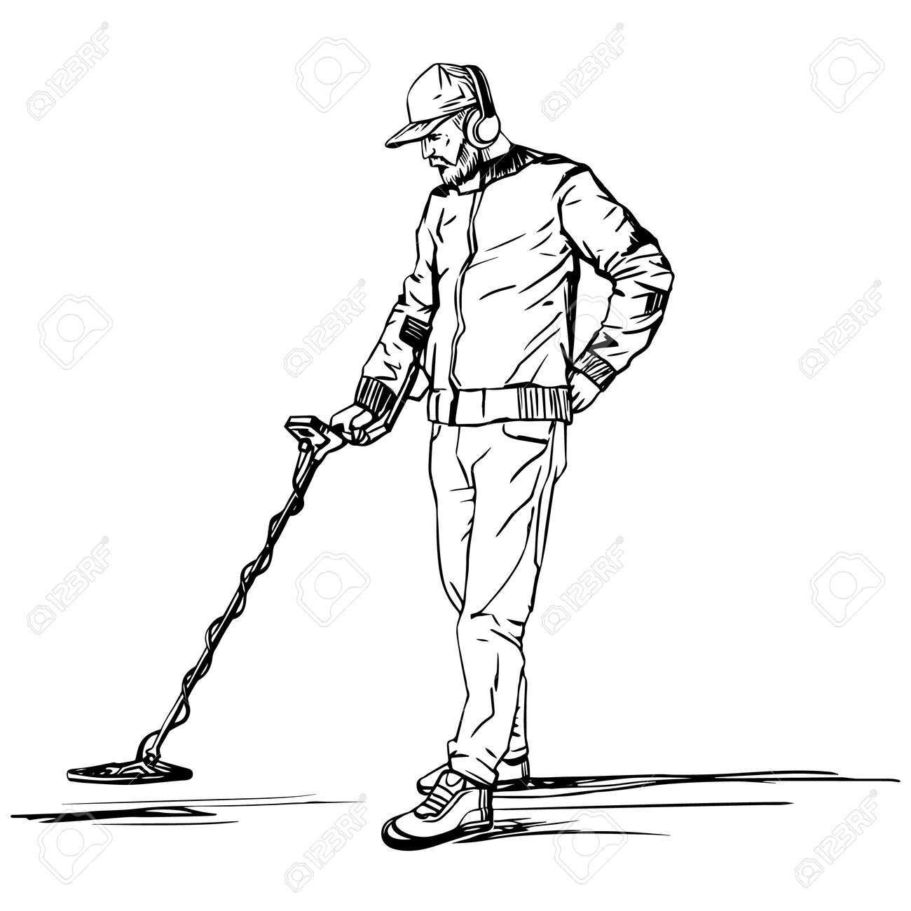 A man searches for treasures with a metal detector. A vector sketch drawn by hand against a white background. - 142881962