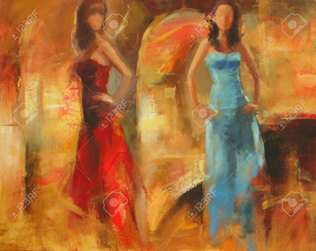 Female Figures Handmade Oil Painting Stock Photo