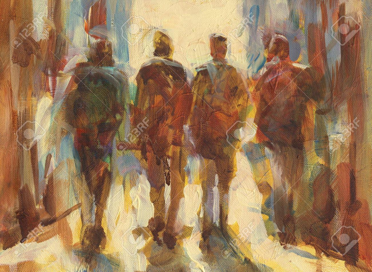Walking People Handmade Oil Painting On Canvas