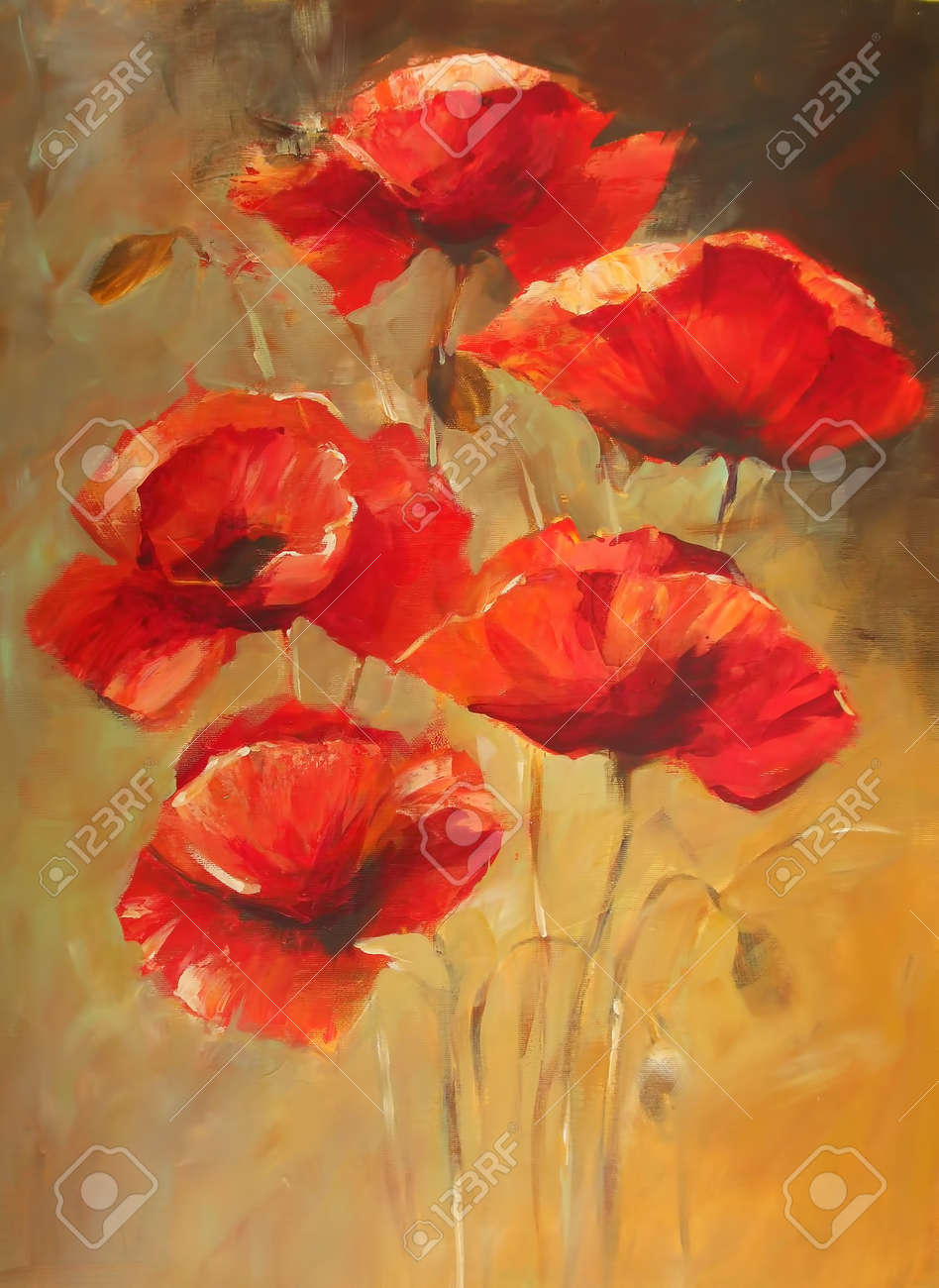 Poppy flowers handmade oil painting on canvas stock photo picture poppy flowers handmade oil painting on canvas stock photo 55509846 mightylinksfo