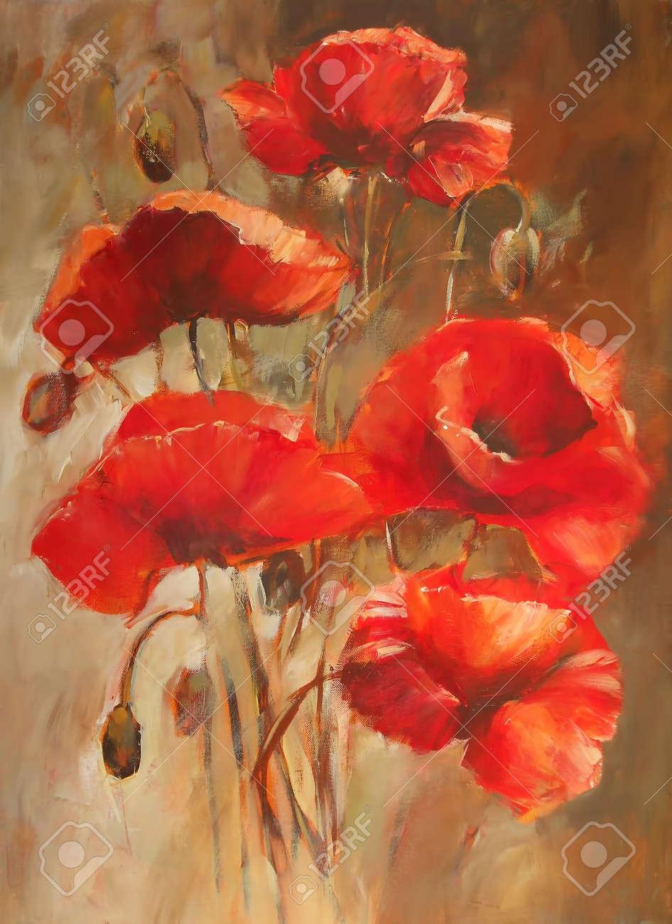Poppy flowers handmade oil painting on canvas stock photo picture poppy flowers handmade oil painting on canvas stock photo 55509850 mightylinksfo