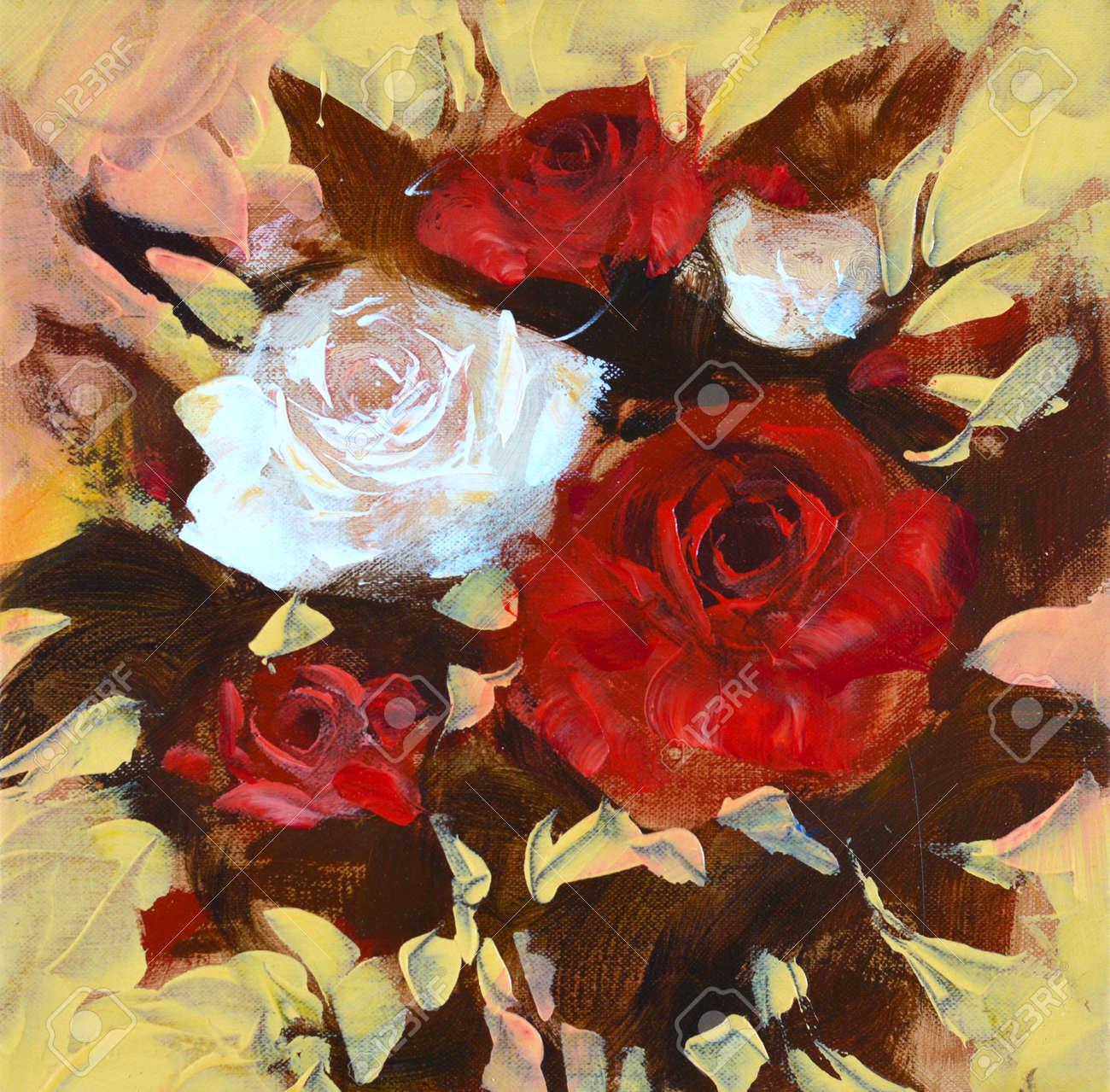 Blanc Et Des Roses Rouges, Peinture à L'huile