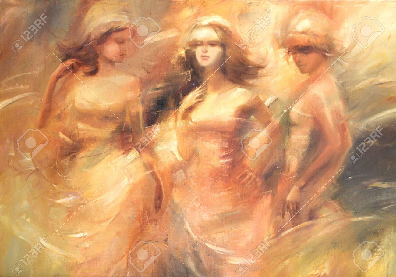 Female Figures Handmade Oil Painting On Canvas Stock Photo