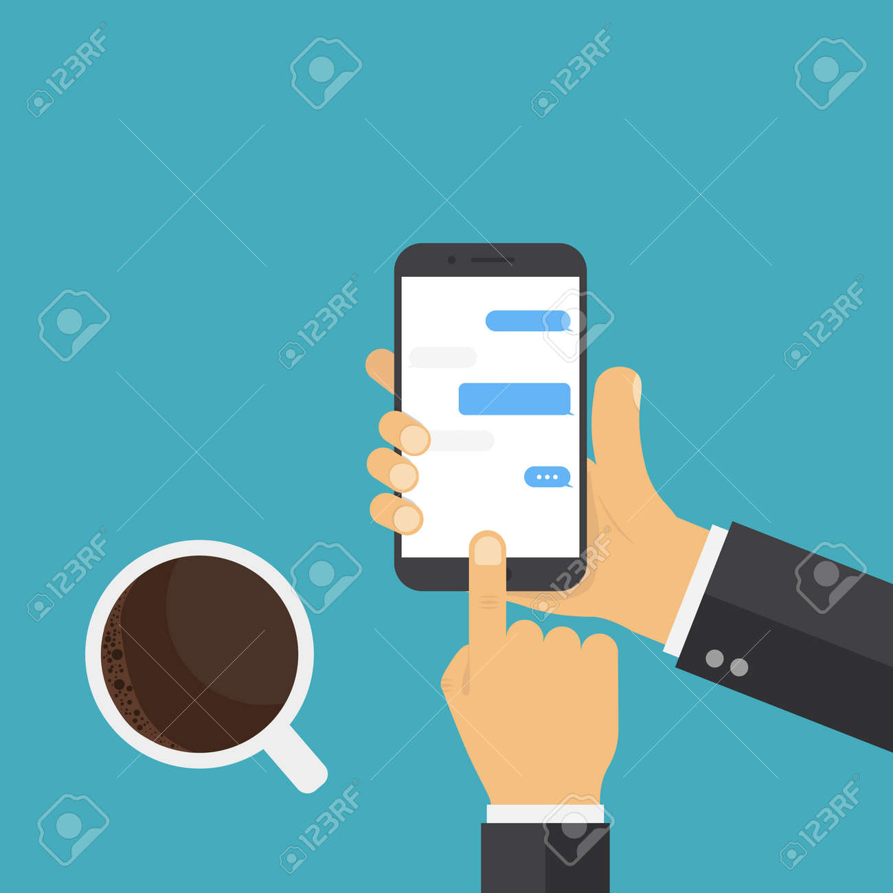 Hand holding smart phone. Coffee hand phone, great design for any purposes. Chat messages concept. - 131066396