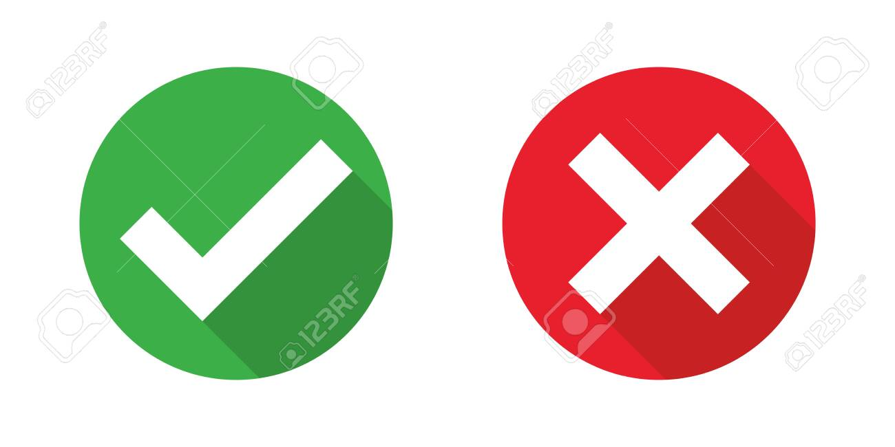 Checkmark cross on white background. Isolated vector sign symbol. Checkmark icon set. Checkmark right symbol tick sign. Flat vector icon. Test question. - 136604506