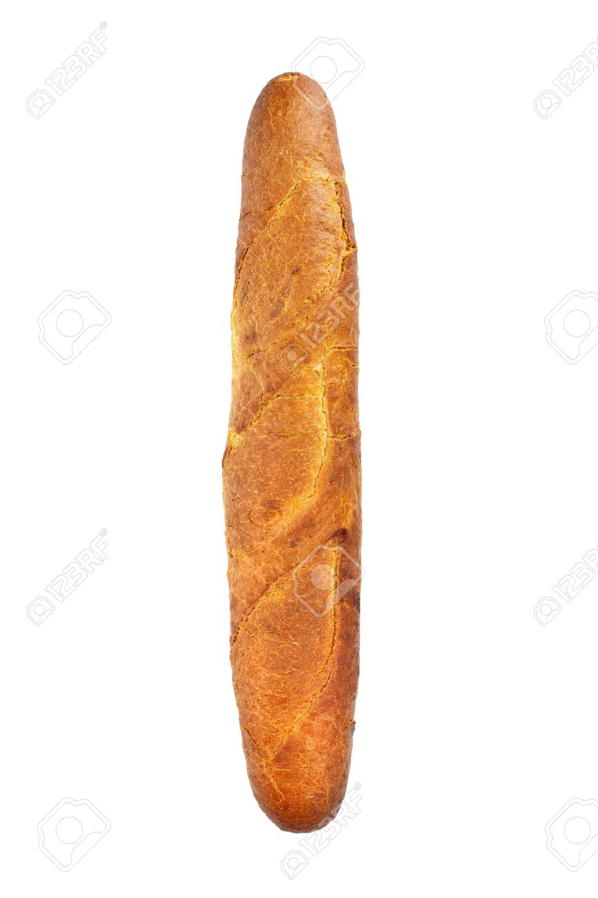 French Baguette Isolated On White Background Stock Photo