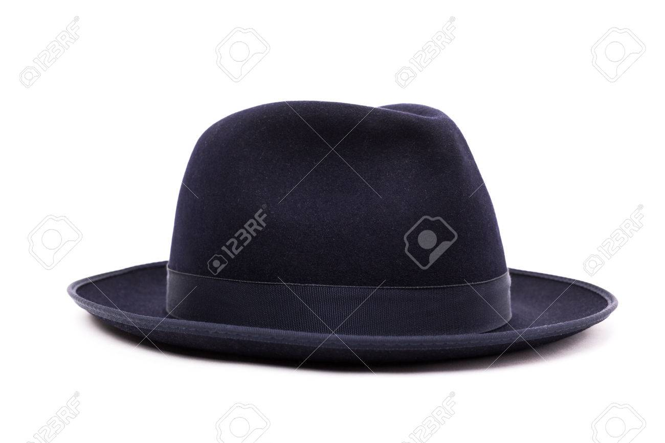 A classic low crown fedora hat in a dark blue color. Isolated on white  background 741fd85b72f
