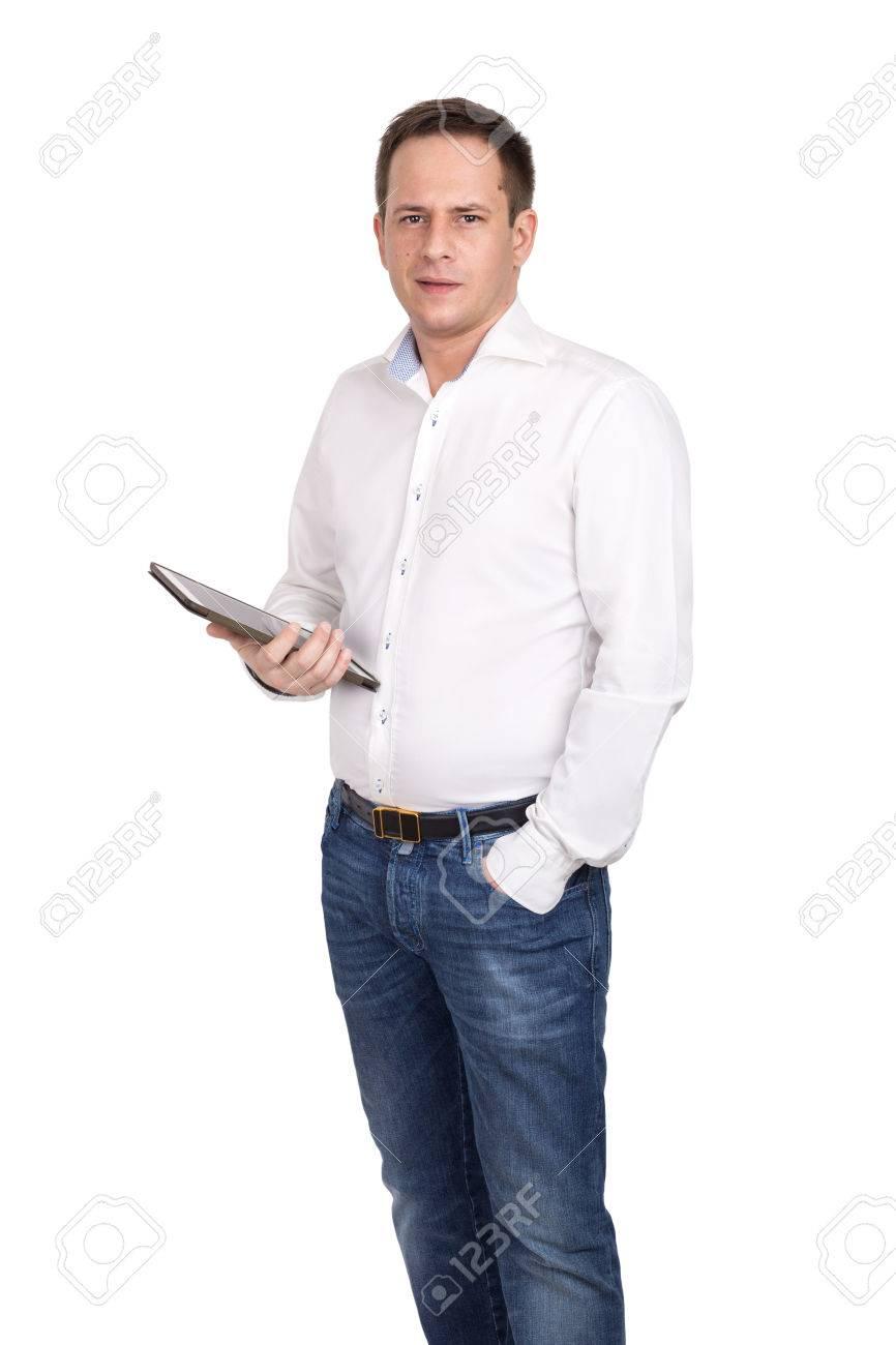 Debout Un Avec Blanche Homme Jean Chemise En Et Adulte Tablette nH60qw1X1