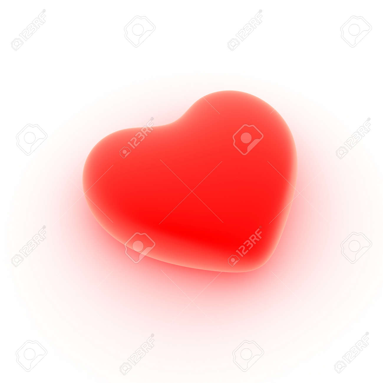 Perfect heart flaring from love, close up on a white background. Stock Photo - 17167677