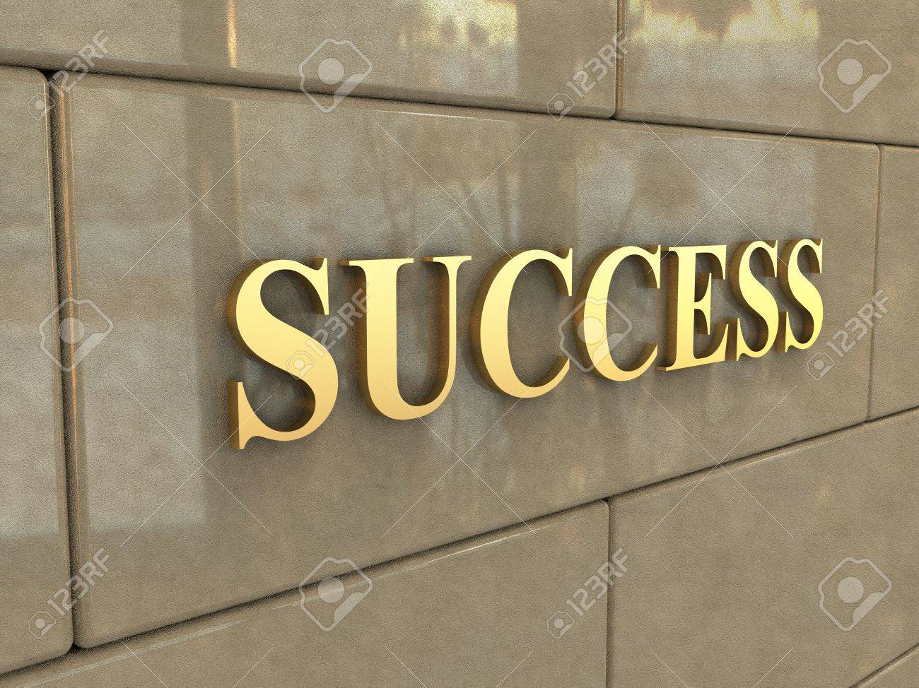 stock photo the word success is chiseled by gold letters on a stone wall