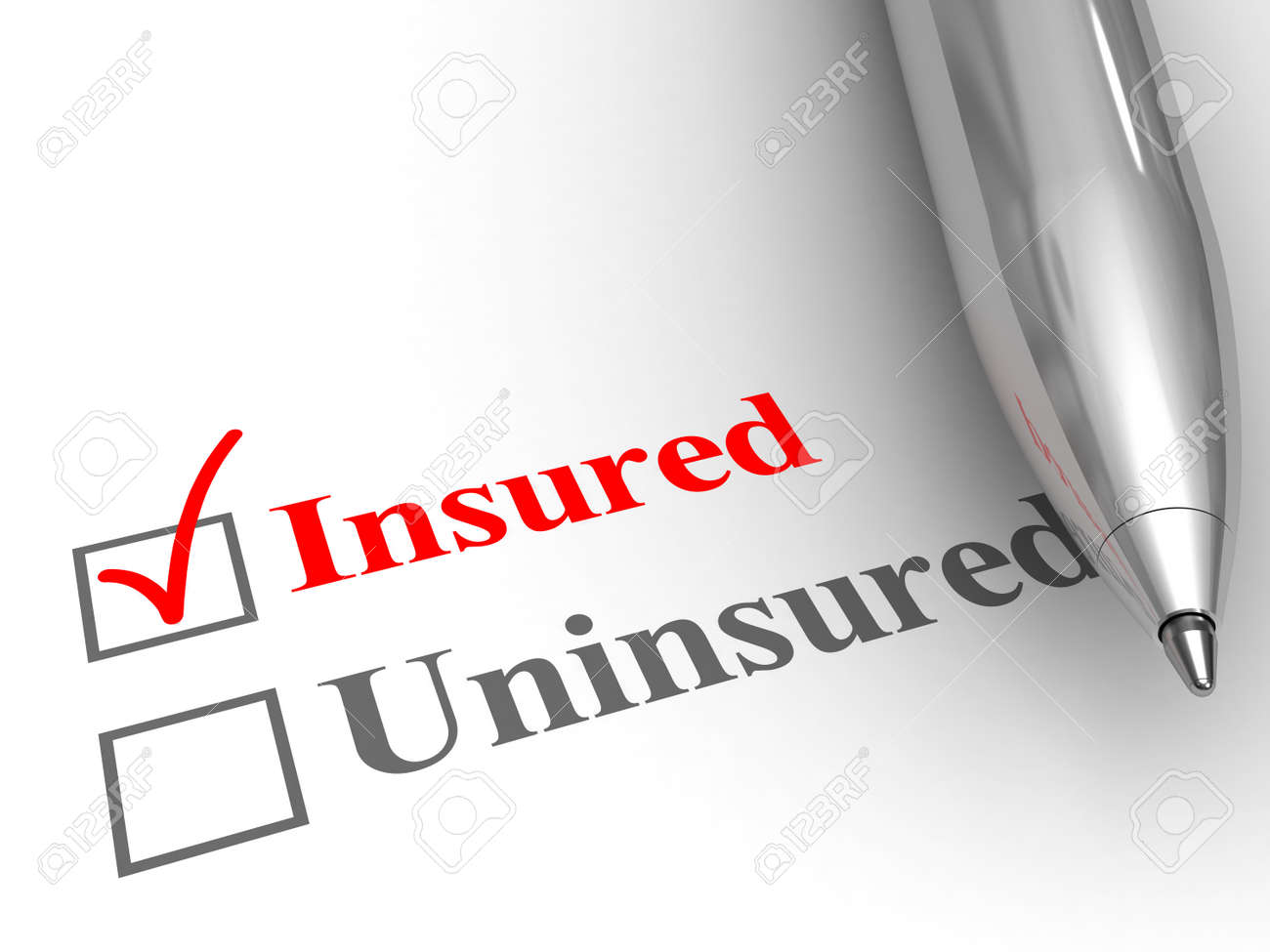 Insured status. Pen on form to answer if you are covered by an insurance policy for medical, auto, homeowner, life protection or another, with insured checked. - 53002535