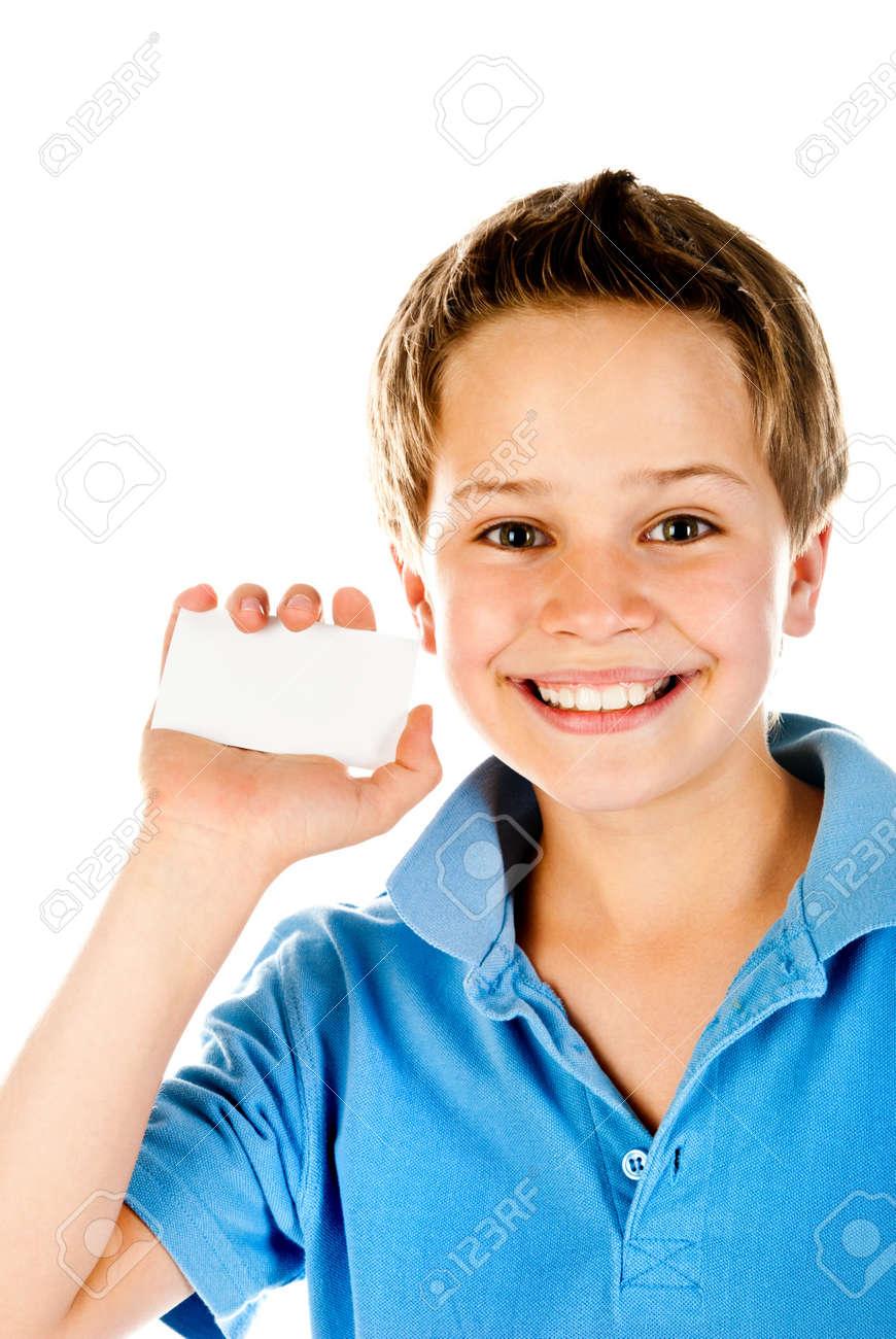 little boy holding empty card Stock Photo - 14394804