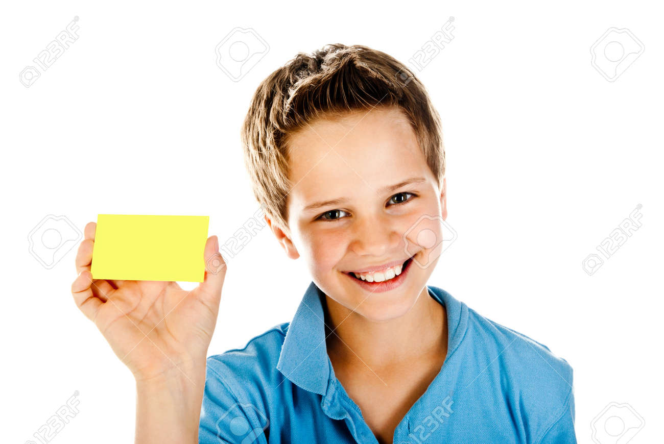 boy with yellow card isolated on a white background Stock Photo - 14655846