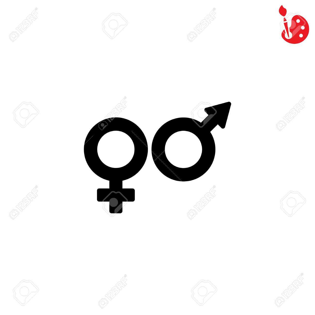 Web Line Icon Gender Symbol Symbols Of Men And Women Royalty Free