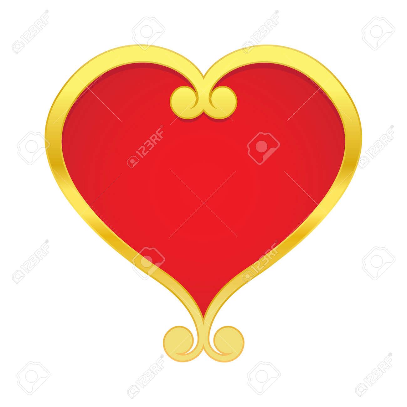 illustration gilded heart on white background Stock Vector - 12303309