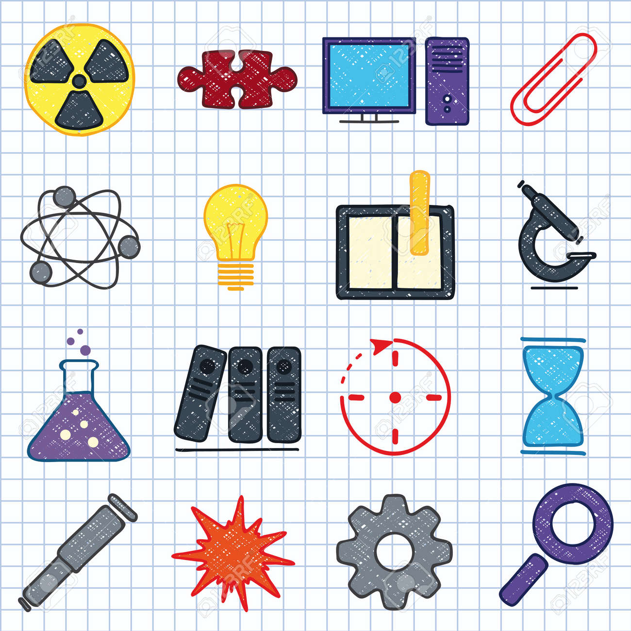 illustration of icons on the topic of science Stock Vector - 16536675