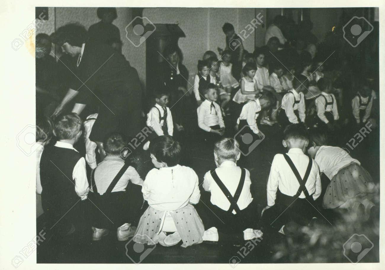 Stock photo the czechoslovak socialist republic circa 1960s retro photo shows small pupils in the classroom vintage black white photography