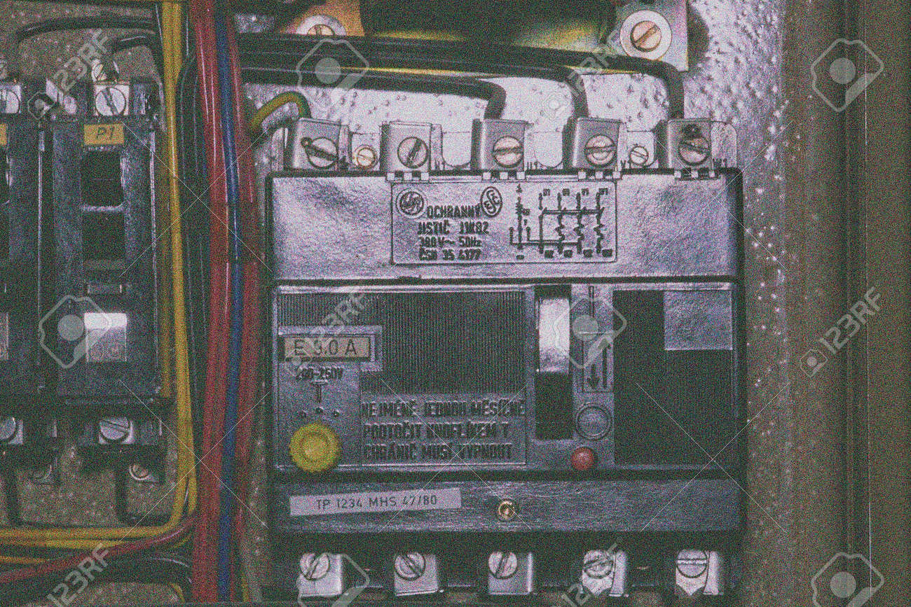Old 3 Phase Circuit Breaker In Electric Distribution Case Closeup Adding A New Requires Another Add Film Grain Effect