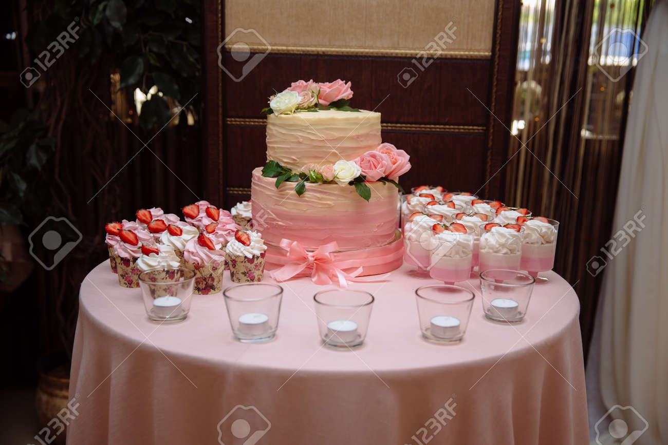 Sweets Multilevel Wedding Cake Decorated With Flowers Stock Photo ...