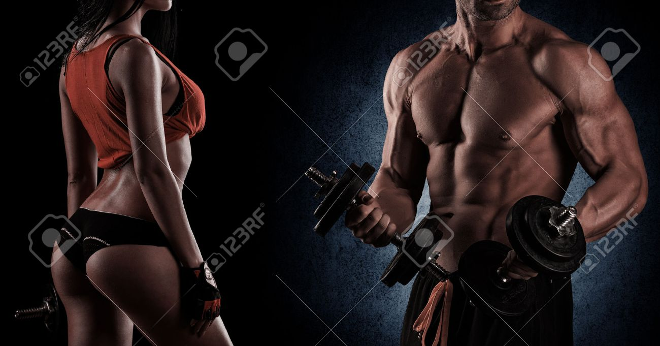 young beautiful couple, bodybuilding, posing in front of the camera, sexy, strong Stock Photo - 43812371