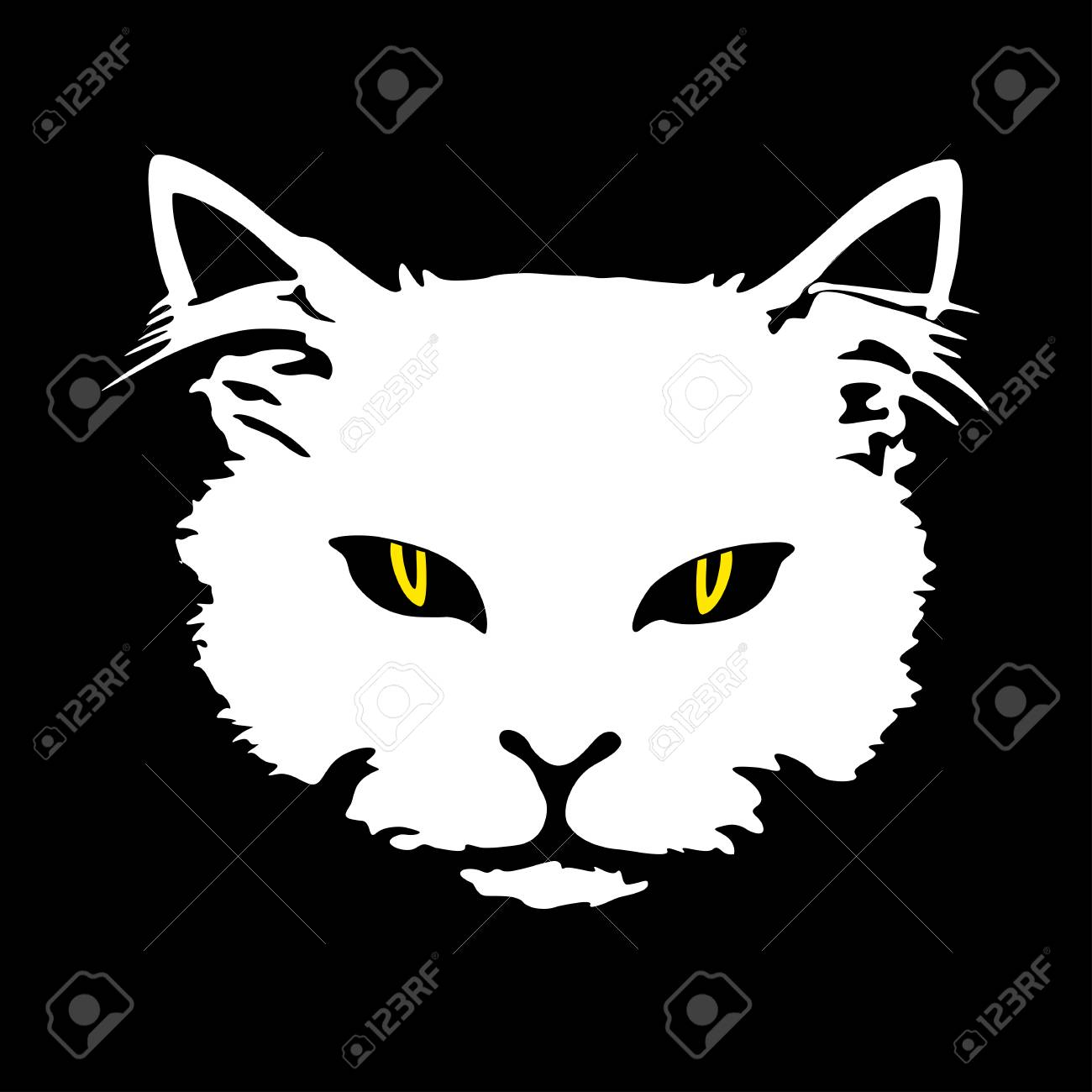 Visage De Chat Blanc Silhouette Avec Des Yeux Jaunes Impression