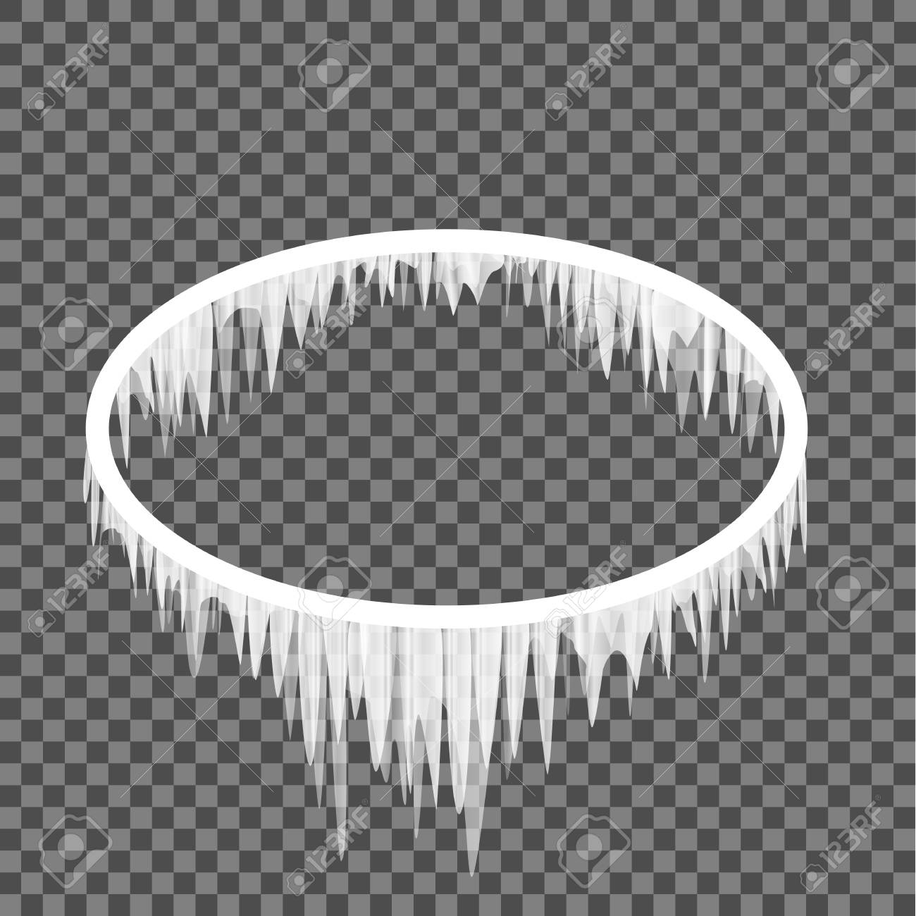 Oval Frame In Icicles On A Transparent Background. Ellipse Shape ...