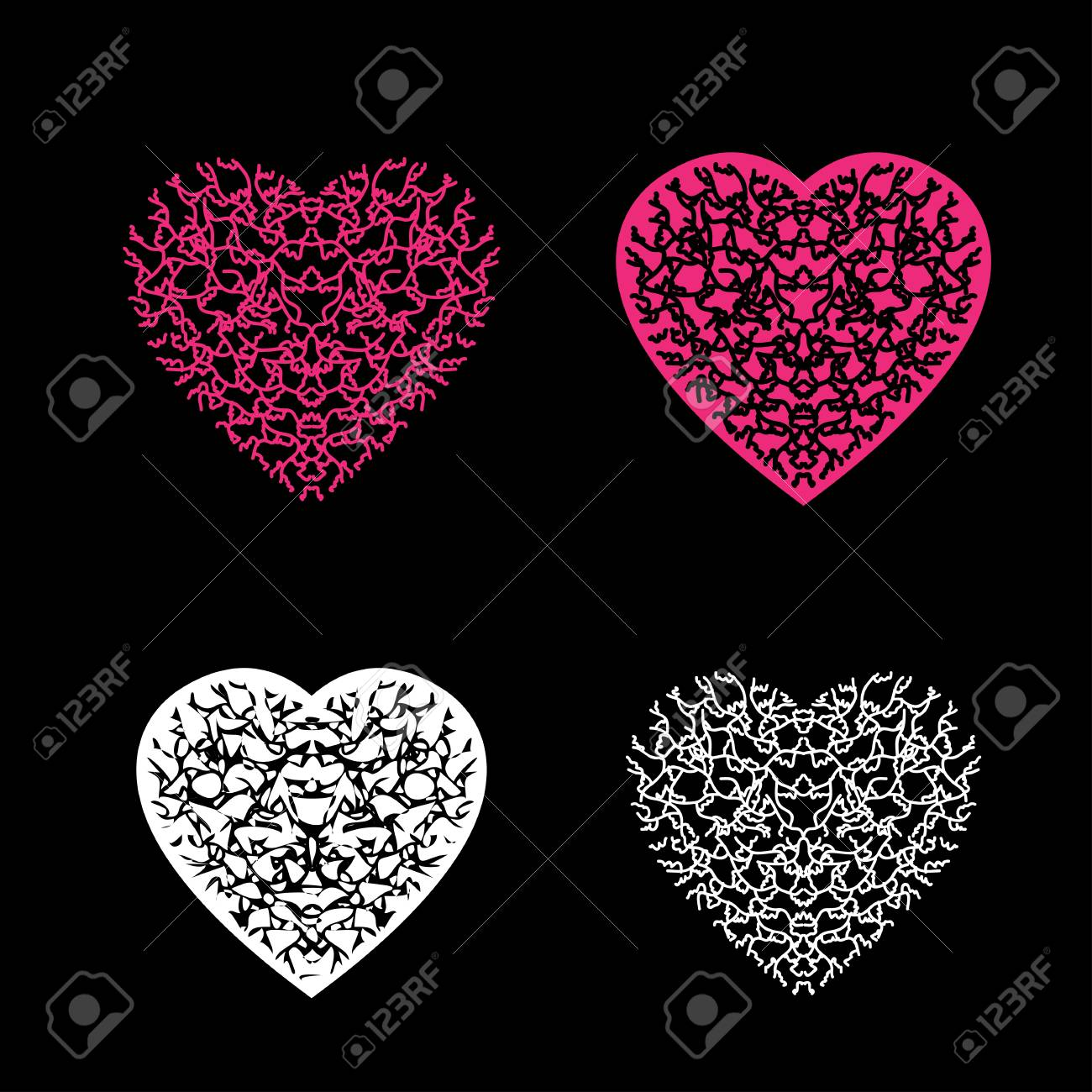 Multi Colour Heart With Pattern On Black Background Royalty Free Cliparts Vectors And Stock Illustration Image 98480032