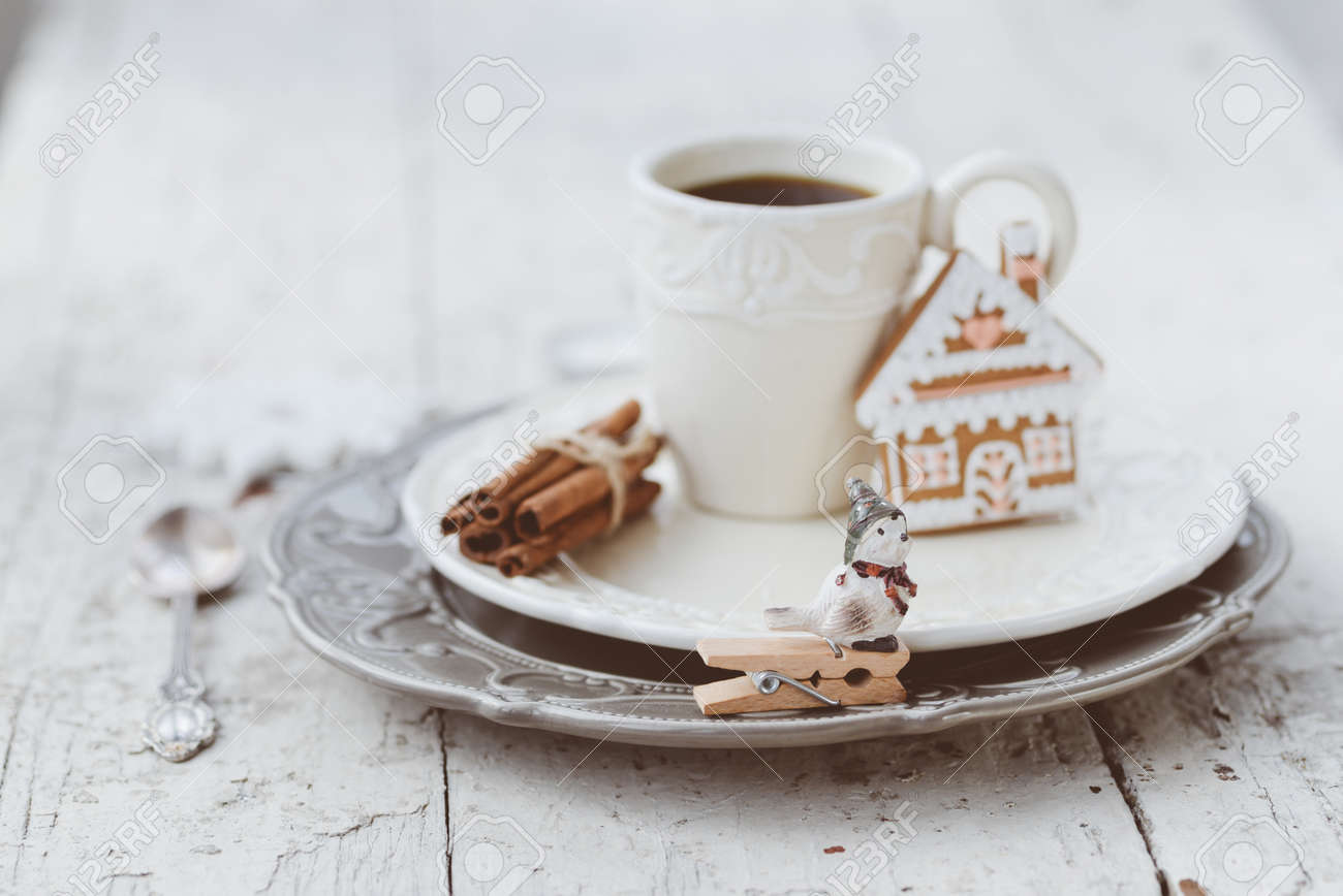 Shabby chic style coffee cup and plate with gingerbread house cookie cinnamon sticks and other & Shabby Chic Style Coffee Cup And Plate With Gingerbread House ...