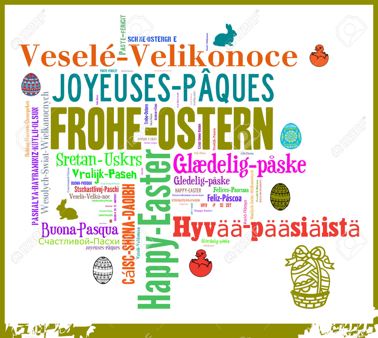 Word Cloud International Easter Greetings Stock Photo Picture And