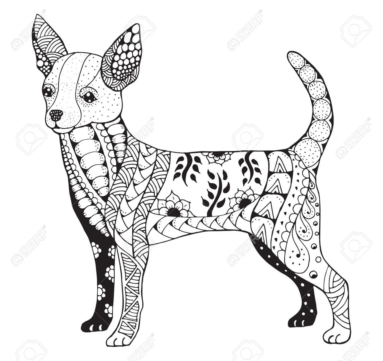 Chihuahua Estilizado, Ejemplo, Lápiz A Mano Alzada, Dibujado A Mano ...