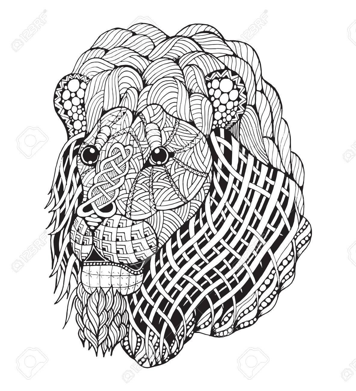 Lion head stylized illustration freehand pencil hand drawn pattern zen art