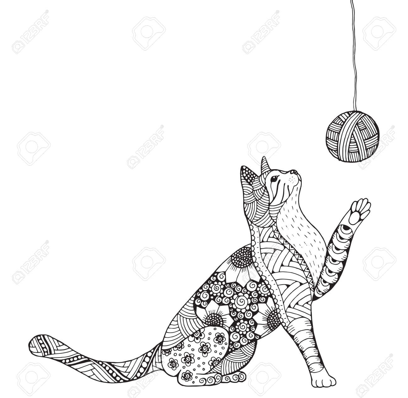 Petit Chaton Et Clew De Fil Cat Jeu Chat Stylise Art Zen