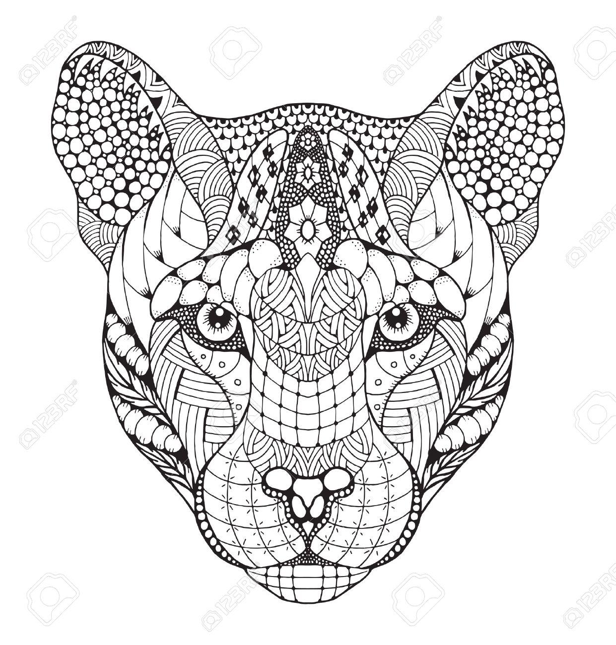 Cougar Montagne Lion Tete De Panthere Stylise Illustration Dessin Crayon A Main Levee Tire Par La Main Art Zen Imprimer Des T Shirts Et Des Livres De Coloriage Clip Art Libres De Droits