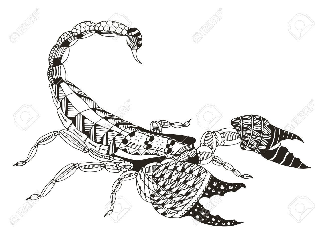 Skorpion Zentangle Stilisiert Vektor Illustration Freihändiger